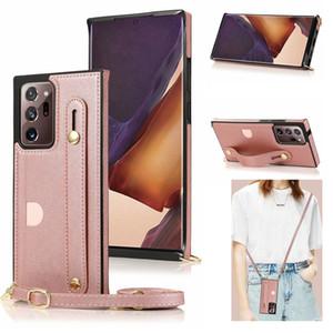 Crossbody Lanyard Hülle für Samsung Note 20 Ultra Leder Handgurt Kartenhalter Telefonabdeckung Fall für Galaxy S20 S10 S9 iPhone 12