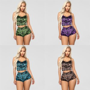 Womens Two Piece Sport Suit T-Shirts Camisole Tops Shorts Tracksuits Lapel Neck Leopard Printed Ladies Sexy Party Night Club Wear H2510