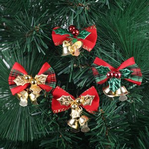 08 Delicate Bowknot Christmas Gift Bows With Small Bells DIY Bows Craft Christmas Tree Decoration Christmas Bow
