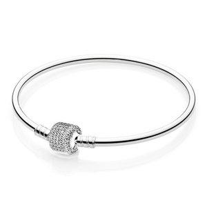 Sterling Qoriginal Signature Clasp with Crystal Snake Bracelet Fit 925 Silver Bead Charm Bangle Diy Fine Jewelryw