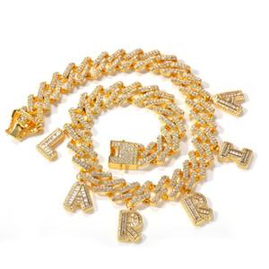 Custom Name DIY Hip Hop Iced Out 26 Letters Cuban Tennis zircon Chain Necklace Pendant Bracelet Anklet Men Women Body Jewelry 2020