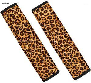 INSTANTARTS Leopard Print Car Seat Belt Covers Slip-Resistant Set of 2 Car Seat Belt Cushions Waterproof Sets Covers1