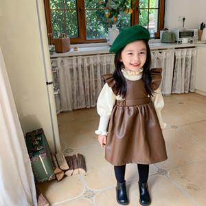 Ins Neue Herbst Mode Mädchen PU Kleider Fly Sleeve Fleece Dicke Prinzessin Kinder Kinder Mädchen PU Leder Kleider Kind Kleidung