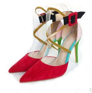 nuevo estilo Zapatos inferior rojo de la Cúspide de Bellas talón de tacón alto de las mujeres de gran código 45 La boca baja altura de los zapatos de tacón individual de 10 cm 12 cm 8 cm bombea las sandalias