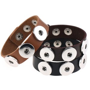 Luxury leather wrap 3 Snap Button Charm bracelets 18MM Noosa Ginger Snaps Interchangeable Bangle For women Men DIY Jewelry Gift