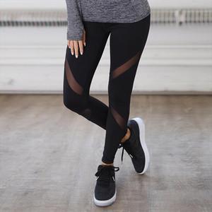 Fitness Sexy High Waist Hips Leggings Gothic Insert Mesh Design Pants Women Large Size Capris Spring Summer Sportswear