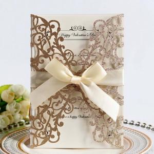 Glittery Bow Invitazioni di nozze multi colore cavo carta openwork Invito lettera laser taglio cartolina d'auguri per forniture per feste 2 65DD E1