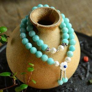 Großhandel JoursNeige Light Blue Tianhe Naturstein Armband mit Shell-Blumen-Perlen-Armbänder für Frauen-Kristallschmucksachen