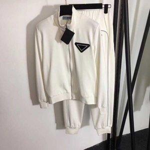 Mujeres chándal diseñador de las mujeres de alta calidad dos pedazos fijados Cardigan chaqueta + pantalones de pista Negro blanca con la insignia de las bandas reflectoras S M L