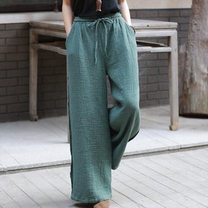 2021 Summer Women Straight Pants Casual Loose Cotton Linen Long Trousers Solid Drawstring Pants With Pocket Plus Size M 7XL