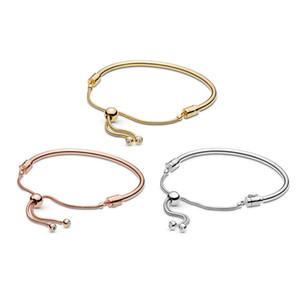 925 Sterling Silver Adjusted Sliding Bangle Bracelet Fits For European Pandora Bracelets Charms and Beads