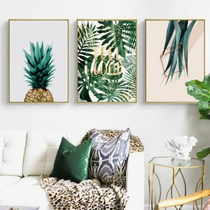 Nordic Hand-painted green plant leaves cactus wall art Canvas posters Painting Prints Pictures for Living Room Morden Home Decor