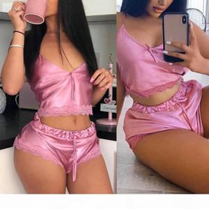 Women Summer Sexy Lace Sleepwear V Neck Vest Waist Drawstring Shorts Pajamas Set perfect gifts for women sexy underwear