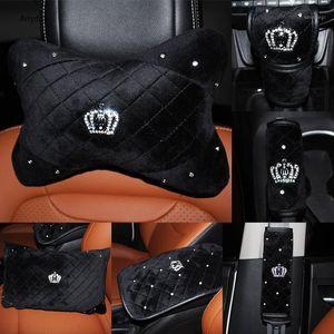 Hot Crown Crystal Car Seat Seat Poggiatesta cuscino Peluche Auto Neck Vita Supporto Cuscini Gear Hand Brake Case Seat Cintura Copertura Set1