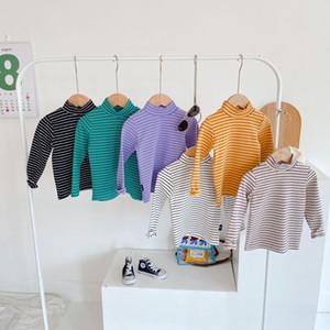 New girls stripe cotton T-shirt kids high neck long sleeve tops children cotton bottoming shirt kids clothes