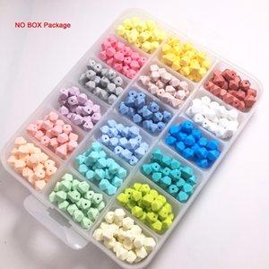 cor silicone doces 100PC bebê mordedor Mini Hexagon colar de pingente DIY pulseira de enfermagem grânulos de crianças Q1106