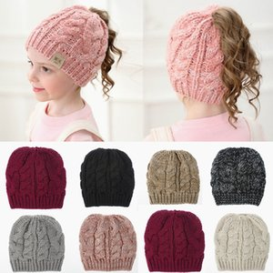 Girls Winter Ponytail Beanie Hat Kids Stretch Knit Messy High Bun Hat Winter Soft Warm Ponytail Cap HHA1608
