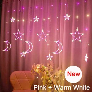 New LED Icicle Curtain String Fairy Lights Christmas Moon Star Garland Outdoor Indoor for Wedding Party Home New Year Decor 201017