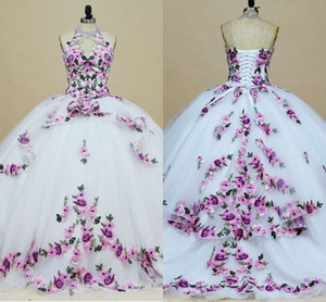 Printed Embroidered White Quinceanera Dresses High Neck Keyhole Princess Tulle Lace-up Floral Applique Ball Gown Sweet 16 Dress Prom Long