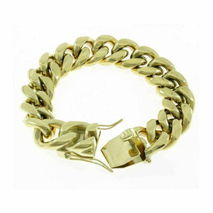 18mm Men's Miami Cuban Link Bracelet 14k Gold Plated Stainless Steel 150 Grams
