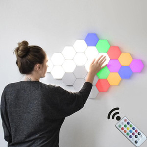 INS Remote Control Honeycomb Modular Assembly Helios Touch Wall Lamp RGB Quantum lamp LED Magnetic Wall Light Bedroom
