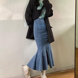 Cintura alta Denim longo Fishtail Skirt Magro Ruffles Jean saias com frontal Abra Sexy Faldas Saias