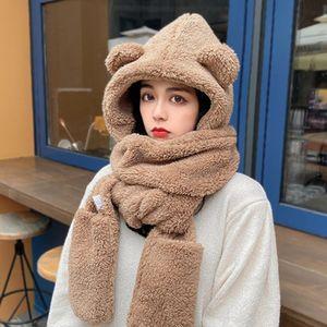 Chapéu de inverno mulheres Double grosso chapéu lenço lenço uma versão coreana de três peças pai-filho espessamento scarf estudantes