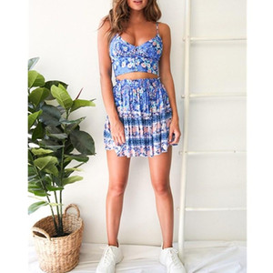 2021 Boho Style Floral Print Women's Set 2pcs Summer Sexy Strap Lace Up Crop Top And Draped Pleated Skirt Suits