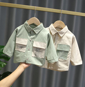 New boys girls solid color shirt boys girls long sleeve shirt cotton top baby clothing high quality