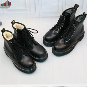 NAUSK Kadınlar Düz Platformu Bilek Boots Bahar Boot Siyah Dantel Yukarı Siyah Orta Creepers Ayakkabı Moda Partisi Ayakkabı C1011