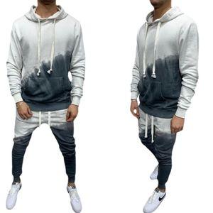 Erkekler İlkbahar Sonbahar Casual Suit Spor Kapşonlu Sweatshirt + uzun Pantolon Harajuku Kontrast renk degrade 2adet Setleri 3d