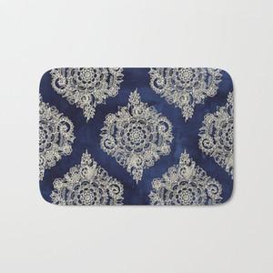 Heiße Badezimmer Teppiche Creme floral marokkanische Badematte Flanell Absorbierende Rutschfeste Fußmatte Eingangstür Badezimmer Matten Ostern 40x601