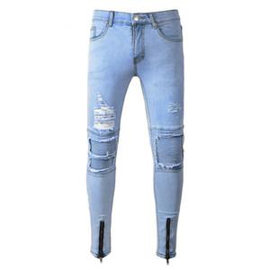 Mens New Arrival Hommes Biker Jeans Mode Mens Hommes Boule à glissière Zipper maigre Pantalon mâle Noir Bleu Taille 28-38