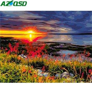 AZQSD pintura Número por la lona de pintura del paisaje DIY Kits handmande Regalo 50x40cm pintura al óleo por números Sunset Decoración Para el hogar
