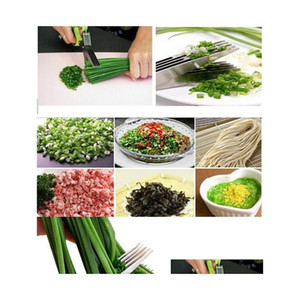 Stainless Steel Cooking Tools Kitchen Accessories Knives 5 Layers Scissors Sushi Shredded Scallion Cut jllsPy dh_niceshop