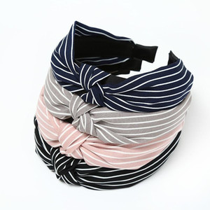 Make-up Hair Hoop Cute Striped Knotted Headband Headdress Women Fashion Bow Broadside Hair Accessories