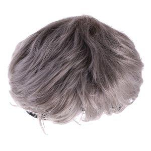 Kühle Unisex graue kurze Fluffy Perücke-Partei Cosplay Abendkleid Harajuku Perücke