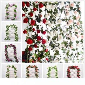 2.2m Artificial Flower Vine Fake Silk Rose Ivy Flower for Wedding Decoration Artificial Vines Hanging Garland Home Decor