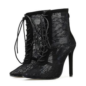 Koovan Kadın Kısa Çizme 2020 Yeni Popüler Mesh Geri Fermuar Yüksek İnce Topuk Boots Lace Up Kadın ayakkabı