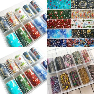 Stickers 10pcs Colorful Transfer Nail Foil Art Sticker for Christmas Decorations Diy Adhesive Manicure Decals Gift Ydno