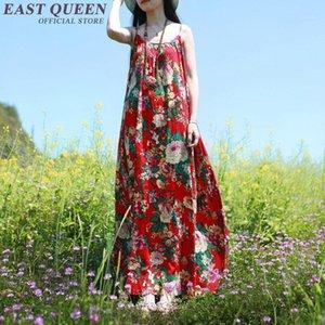 Floral long dress chinese traditional dress linen dresses summer women long summer sundresses NN0836 C1