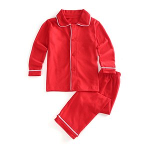 Wholesale cotton Toddler Boys and Girls pajamas Family Matching Children Christmas solid color Ruffle kids PJS
