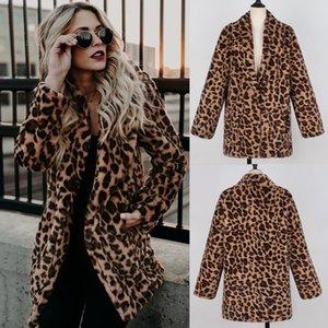 Leopar Baskılı Kadınlar Uzun Ceket Kış Peluş Sıcak Faux Fur Hoodie ceketler giyim Moda Bayan Gevşek Kapşonlu Palto Palto