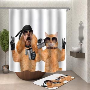 2020 재미 샤워 커튼 목욕 커튼 홈 장식 방수 샤워 커튼 고양이 개 차원 욕실 커튼 또는 매트