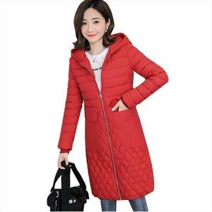 2020 New Plus size Parkas Women Hooded Winter Jacket Slim Down cotton Large Pocket Long Coat Solid Casual Female Warm Outwear