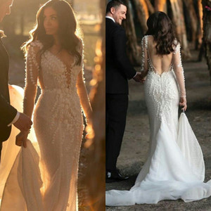 Deep V Neck Mermaid Wedding Dresses 2021 Long Sleeves Backless Country Bridal Gowns Lace Appliques Robe De Mariee