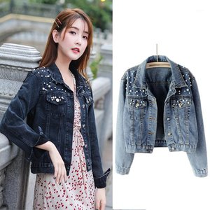 Pearl Beading Crop Denim Jackets 2020 Spring Women 5Xl Casual Jeans Bomber Jacket Long Sleeve Denim Coat Korean Plus Size1