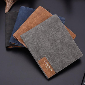 Designer- Slim Business Front Pocket Wallet Men Solid Denim Cloth Design Bifold Wallets Man Pu Leather Credit Card Holder Mens Purse