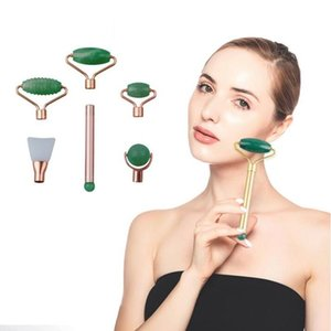 Facial Beauty Massager Jade Roller Massager Powder Crystal Massage Stick Face Piedra Gemstone Beauty Scraping Board Set Herramientas de salud Sea GWC5132