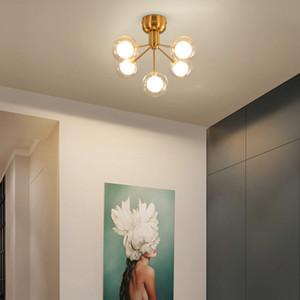 Modern LED Chandelier Ceiling G4 Clear Glass Ball Hanging Lights For Living Room Restaurant Aisle Balcony Fixtures AC90V - 260V